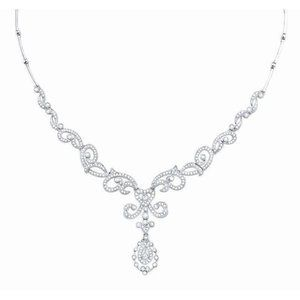 Jewelry - Round diamond ladies necklace pendant white gold j